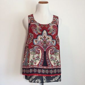 Bila Red and Navy Patterned Tank Top